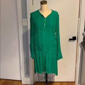 Diane Von Furstenburg Green silk pleated dress